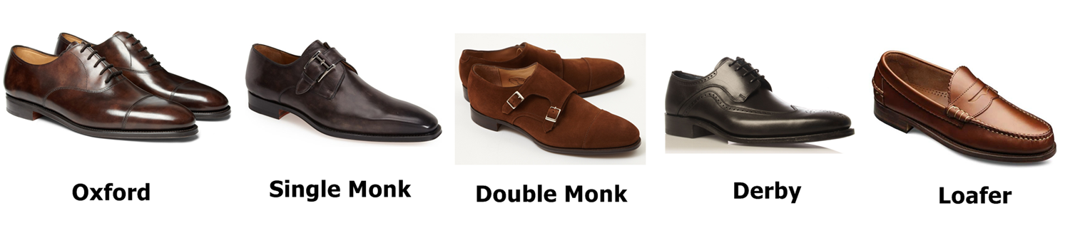Độ trang trọng giảm dần theo thứ tự: Oxford, Single Monk, Double monk, Derby, Loafer